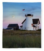 Stage Harbor Light Cape Cod Fleece Blanket