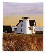 Stage Harbor Lighthouse Chatham Fleece Blanket