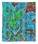 Stained Glass Agave Two  Fleece Blanket