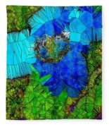 Stained Glass Blue Poppy One Fleece Blanket