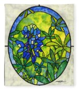 Stained Glass Bluebonnet Fleece Blanket