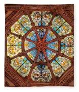 Stained Glass Ceiling Window Fleece Blanket