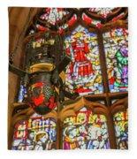 Stained Glass Lantern And Window Fleece Blanket