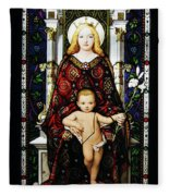 Stained Glass Of Virgin Mary Fleece Blanket