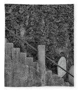 Stairs In Black And White Fleece Blanket
