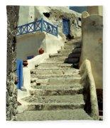 Stairway In Santorini Fleece Blanket