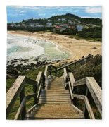 Stairway To Beach Fleece Blanket