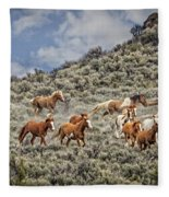 Stampede In The Sage Fleece Blanket