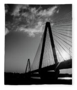 Stan Musial Bridge St Louis Mo Black And White_dsc4591_16_65 Fleece Blanket
