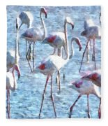 Stand Out In The Crowd Flamingo Watercolor Fleece Blanket
