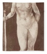 Standing Female Nude With Baton In The Right Fleece Blanket