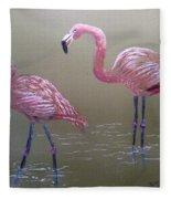Standing Flamingos Fleece Blanket