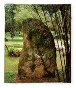 Standing Stone With Fern And Bamboo 19a Fleece Blanket