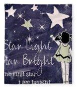 Star Light Star Bright Chalk Board Nursery Rhyme Fleece Blanket