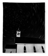 Star Tracks Over Saint Columba Anglican Country Church Fleece Blanket