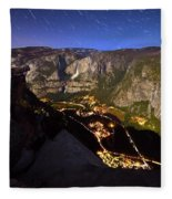 Star Trails At Yosemite Valley Fleece Blanket