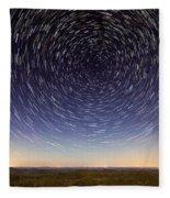 Star Trails Over Mountains Fleece Blanket
