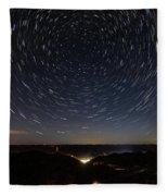Star Trails Over Whitesburg Fleece Blanket