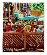 Starbucks Cafe On Monkland Montreal Cityscene Fleece Blanket