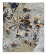 Starfish And Sea Shells Fleece Blanket