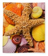 Starfish And Seashells  Fleece Blanket