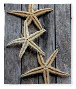 Starfishes In Wooden Fleece Blanket