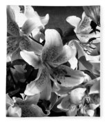 Stargazer Lilies Bw Fleece Blanket