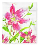 Stargazer Lily #3 Fleece Blanket
