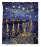 Starry Night Over The Rhone Fleece Blanket