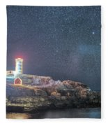Starry Sky Of The Nubble Light In York Me Cape Neddick Fleece Blanket