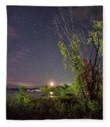 Starry Sky Over Lake Champlain New York Fleece Blanket