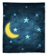 Stars And Moon Drawing With Chalk Fleece Blanket