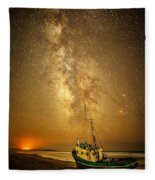 Stars Over Fishing Boat Fleece Blanket
