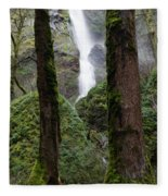 Starvation Creek Falls Between The Trees Fleece Blanket