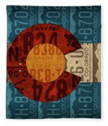 State Flag Of Colorado Recycled License Plate Art Fleece Blanket