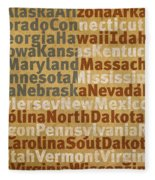 State Names American Flag Word Art Red White And Blue Fleece Blanket