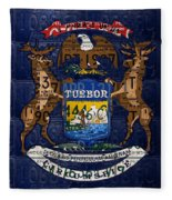 State Of Michigan Flag Recycled Vintage License Plate Art Version 1 Fleece Blanket