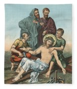 Station Xi Jesus Is Nailed To The Cross Fleece Blanket
