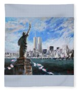Statue Of Liberty And Tween Towers Fleece Blanket