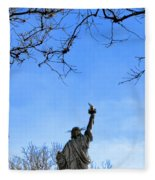 Statue Of Liberty Back View  Fleece Blanket