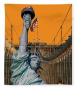 Statue Of Liberty - Brooklyn Bridge Fleece Blanket