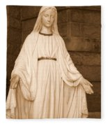Statue Of Mary At Sacred Heart In Tampa Fleece Blanket