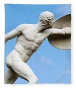 Statue Of Nude Man With Shield And Dagger Fleece Blanket