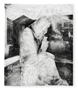 Statue Of Weeping Woman, Lafayette Cemetery, New Orleans In Black And White Sketch Fleece Blanket