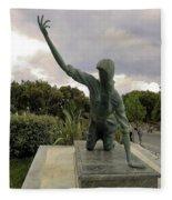 Statue Of Woman Crawling On Marble Street Fleece Blanket