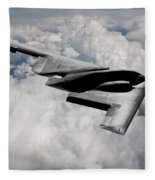 Stealth Bomber Over The Clouds Fleece Blanket