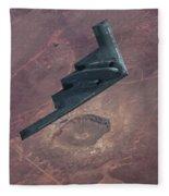 Stealth Over The Arizona Meteor Crater Fleece Blanket