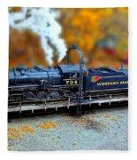Steam Engine Tilt Shift Fleece Blanket