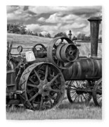 Steam Powered Tractor - Paint Bw Fleece Blanket