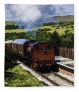 Steam Train 2 Oil Painting Effect Fleece Blanket